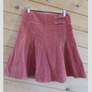 Garnet Hill Salmon Pink Corduroy Mini Skirt 2P
